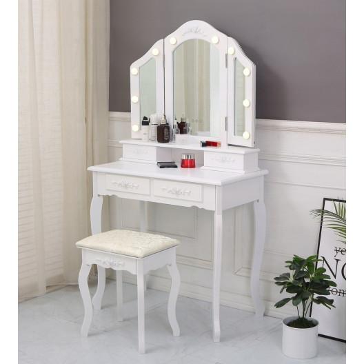 Toaletný Kozmetický Stolík 3 Zrkadlá + taburetka + LED osvetlenie