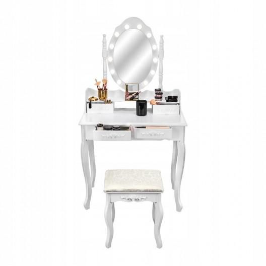 Toaletný stolík s kozmetickým zrkadlom + stolička Marie Thérése LED