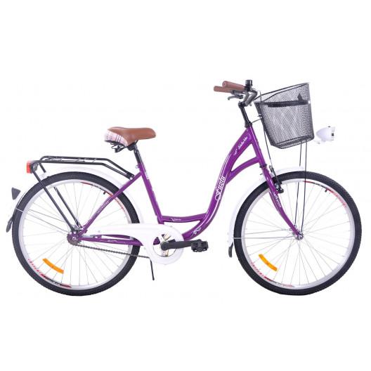 """Retro Bicykel FUZLU 26"""" 1 Prevodový Fialový+Košík"""