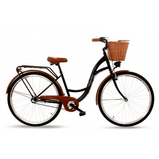 """Retro Bicykel GOETZE Classic 26""""/28"""" 3 Prevodový Čierny +košík"""