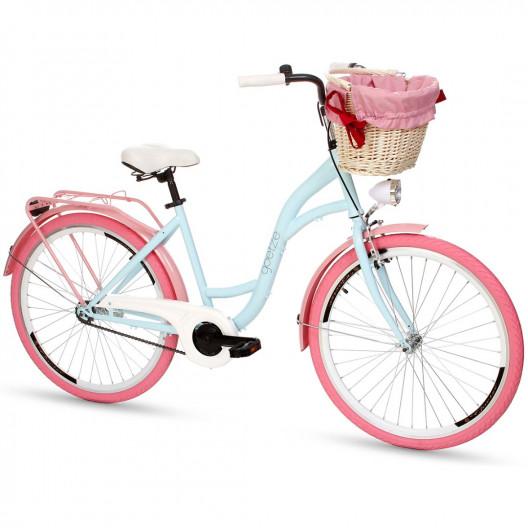 """Retro Bicykel GOETZE COLOURS 26""""/28"""" 1 Prevodový Modrý-ružové kolesa+košík"""
