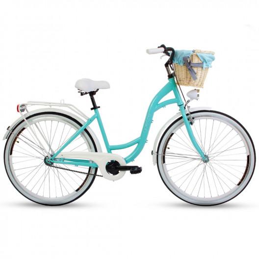 "Retro Bicykel GOETZE STYLE 26""/28"" 1 Prevodový modrý+Košík"