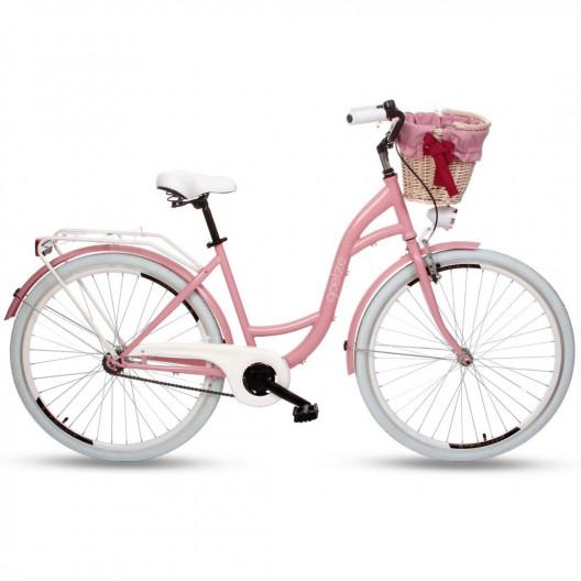 """Retro Bicykel GOETZE COLOURS 28"""" 1 Prevodový Ružový + košík"""