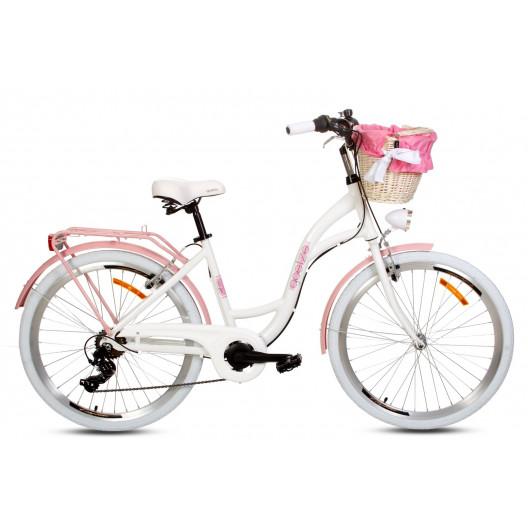 """Retro Bicykel GOETZE HLINIKOVÝ 26"""" 7 Prevodový Bielo-Ružový NOVINKA 2020"""