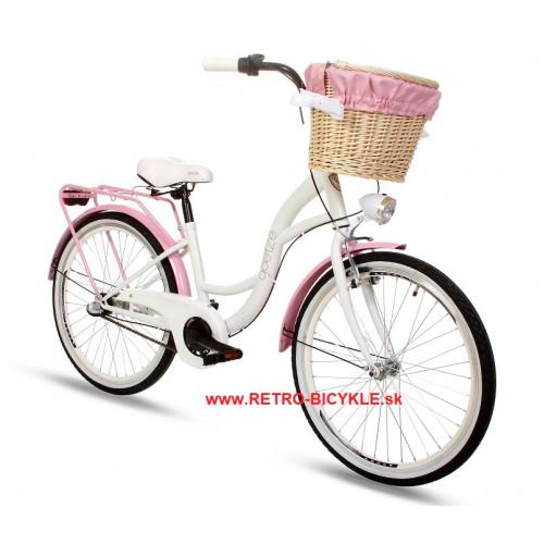 """Retro Bicykel Goetze COLOURS 24"""" 3 Prevodový Bielo-ružový"""