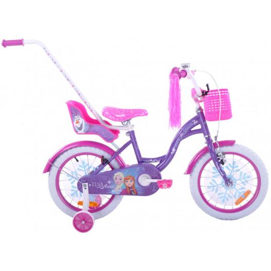 """Detský bicykel 16"""" ľadová krajina FROZEN Elsa a Anna fialový"""
