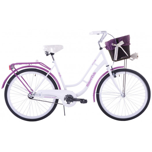 """Retro Bicykel HOLLAND RETRO 26""""/28"""" 1 prevodový Bielo-fialový+ košík grátis"""