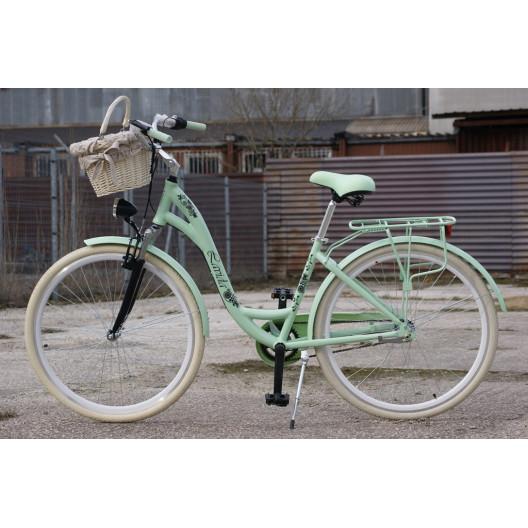 "Dámsky Retro Bicykel LAVIDA 28"" Mentolový 3 Prevody Odpužený Hlinikový+košík grátis"
