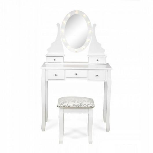 Toaletný drevený stolík Glamour s LED osvetlením SH-01W