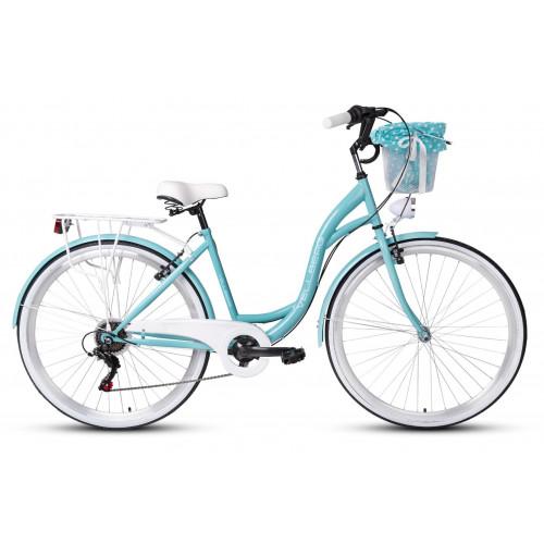 """Mestský Retro Bicykel VELLBERG HAVANA 28"""" 7 Prevodový Modrý+košík"""