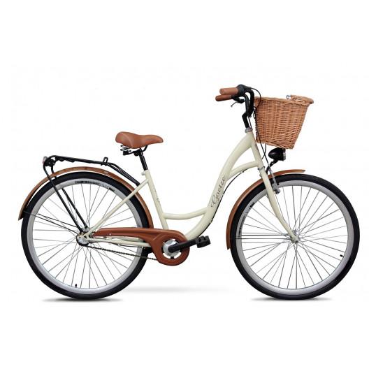 """Retro Bicykel GOETZE Classic 26""""/28"""" 3 Prevodový Krémový+košík grátis"""