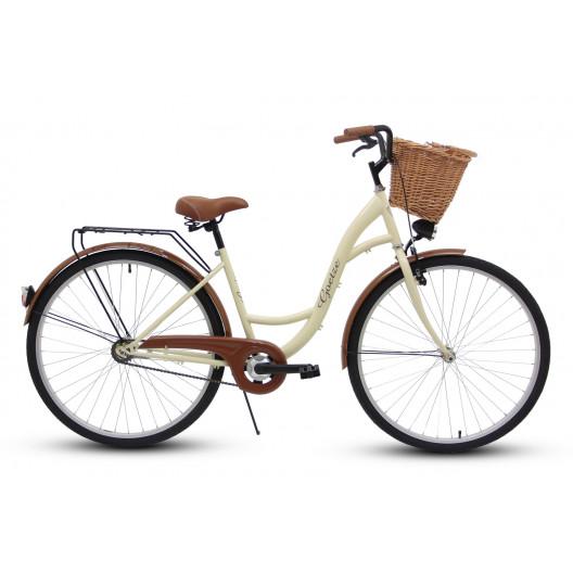 """Retro Bicykel GOETZE ECO 26""""/28"""" 1 Prevodový Kremový+košík grátis"""