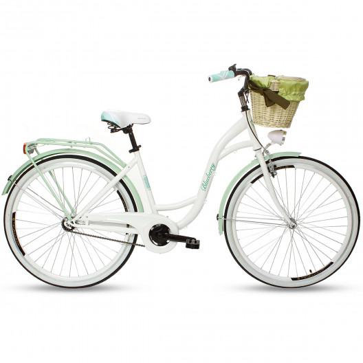 """Retro Bicykel GOETZE BLUEBERRY 28"""" Bielo/Mentolový 1 Prevodový+košík grátis"""