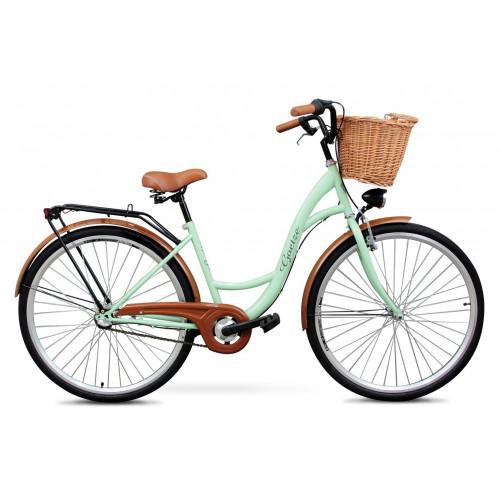 "Retro Bicykel GOETZE Classic 26""/28"" 3 Prevodový Pistaciový + košík"