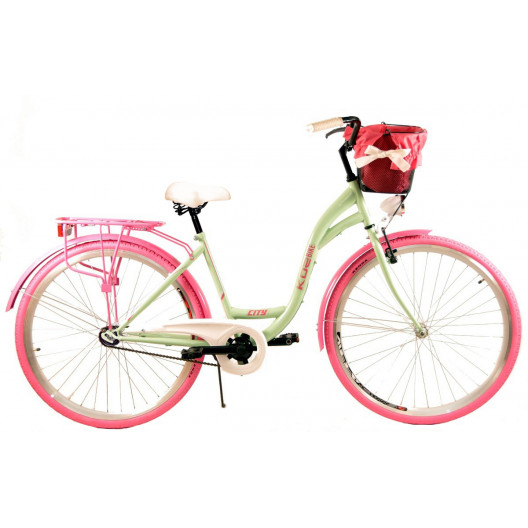 """Dámsky Retro Bicykel CITY 28"""" 3 prevodový Limetkový + košík grátis"""