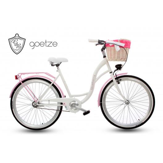 """Retro Bicykel GOETZE BLUEBERRY 26"""" 1 Prevodový bielo/ružový +Košík"""