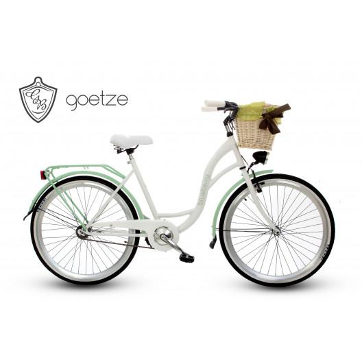 """Retro Bicykel GOETZE BLUEBERRY 26"""" 1 Prevodový bielo/mentolový +Košík"""