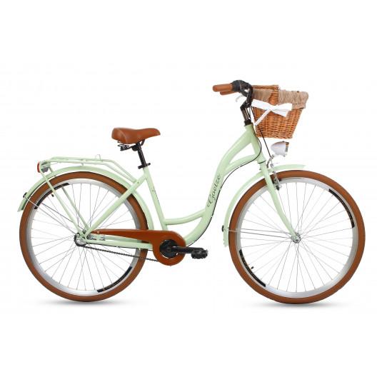 """Retro Bicykel GOETZE COLOURS 28"""" 3 Prevodový Pistaciový Hnedé Kolesá+košík"""