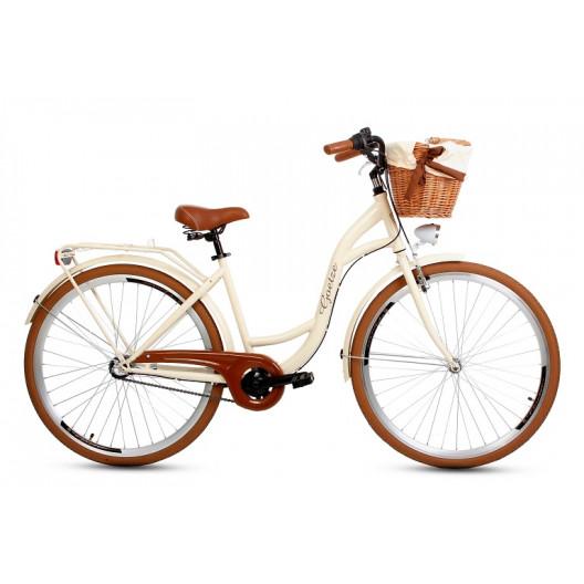 """Retro Bicykel GOETZE Colours LTD 28"""" 3 Prevodový Maslový Hnedé Kolesá+košík grátis"""