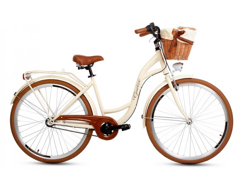 """Retro Bicykel GOETZE Colours LTD 28"""" 3 Prevodový Maslový Hnedé Kolesá+košík"""