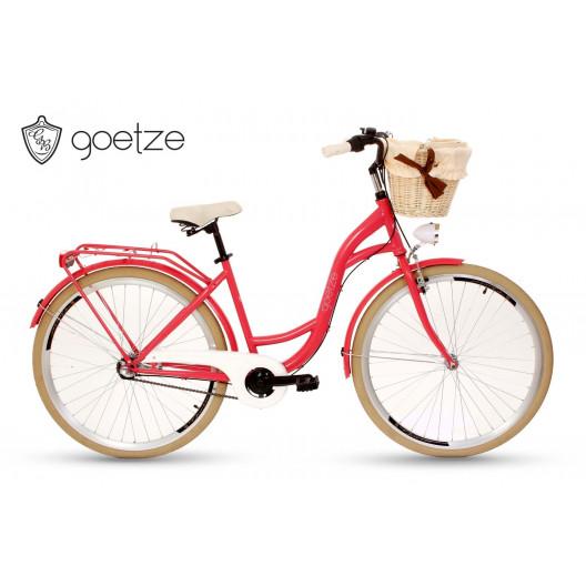 """Retro Mestský bicykel Goetze COLOURS 28"""" 3 Prevodový Malinový+košík grátis"""