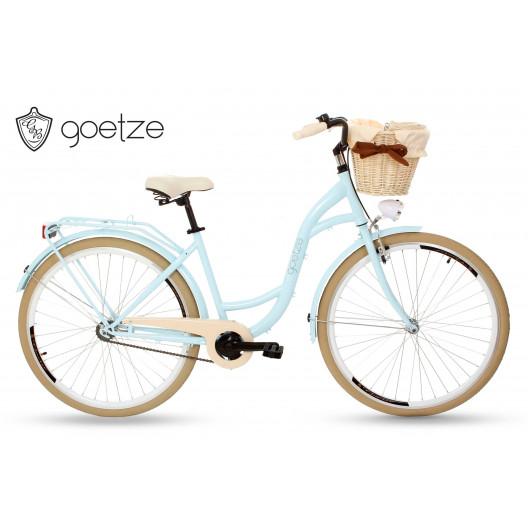 """Retro Mestský Bicykel Goetze COLOURS 26""""/28"""" 1 Prevod Svetlo/Modrý+Košík Grátis"""