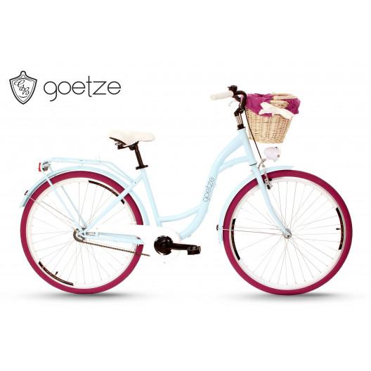"""Retro Mestský Bicykel Goetze COLOURS Purpurový 28"""" 1 Prevod+Košík 2020"""