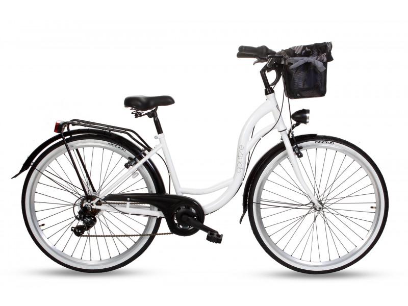 """Retro Mestský Bicykel Goetze MOOD 28"""" 7 Prevodový Bielo-čierny+košík"""
