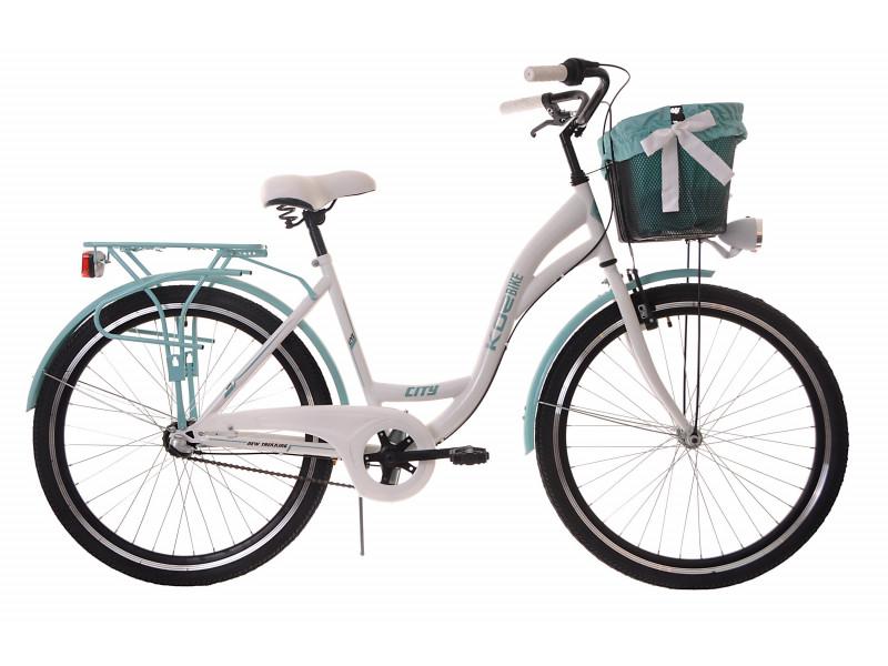 """Dámsky Retro Bicykel CITY 26"""" 3 Prevodový bielo/modrý Doplnky + Košík Grátis"""