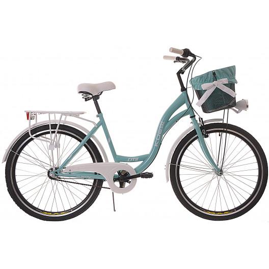 "Dámsky Retro Bicykel CITY 26"" 3 Prevodový Pastelový Doplnky + Košík Grátis"