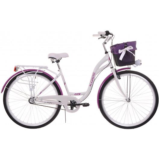 """Dámsky Retro Bicykel CITY 28"""" 3 Prevodový bielo/fialový Doplnky + Košík Grátis"""