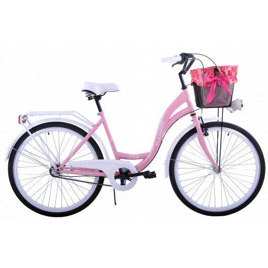 """Dámsky Retro Bicykel CITY 26"""" 3 Prevodový Ružový Doplnky + Košík Grátis"""