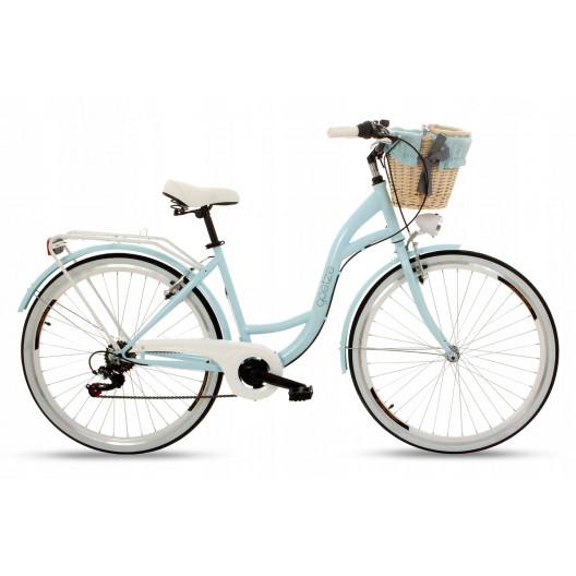 """Retro Bicykel GOETZE MOOD 28"""" 7 prevodový Svetlomodrý+košík 2020"""