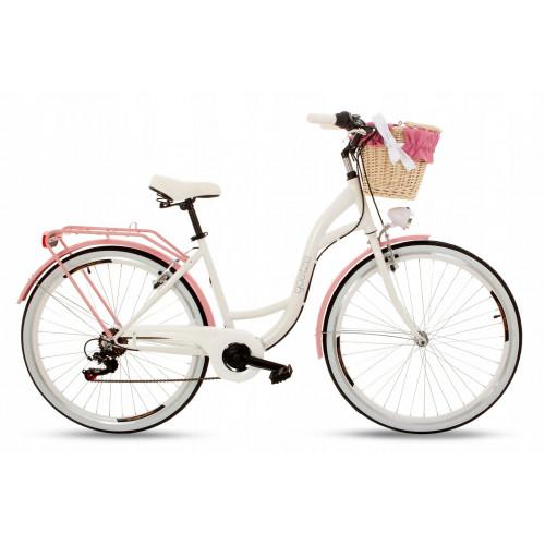 """Retro Mestský Bicykel Goetze MOOD 28"""" 7 Prevodový Bielo-ružový+košík 2020"""