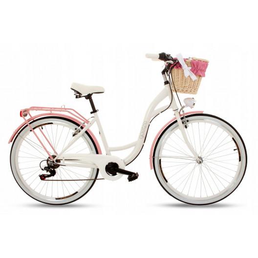 """Retro Mestský Bicykel Goetze MOOD 28"""" 7 Prevodový Bielo-ružový+košík"""