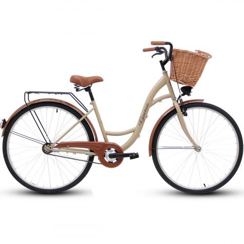 "Retro Bicykel GOETZE ECO 26""/28"" 1 Prevodový Cappucino+Košík"
