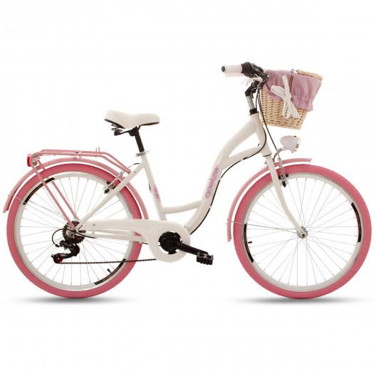 """Retro Mestský Bicykel Goetze MOOD 26"""" 7 Prevodový Ružové kolesá+košík"""