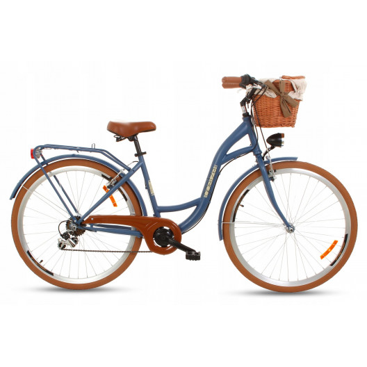 "Retro Mestský Bicykel Goetze MOOD 28"" 7 Prevodový Modrý +košík"