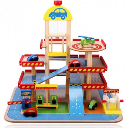Wooden Toys Drevená parkovacia garáž Farebná