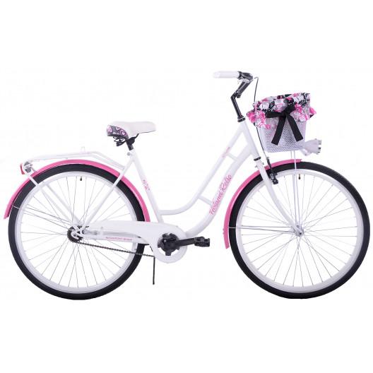 """Retro Bicykel HOLLAND RETRO 1 Prevodový 26""""/28"""" Bielo/ružový+Košík Grátis"""