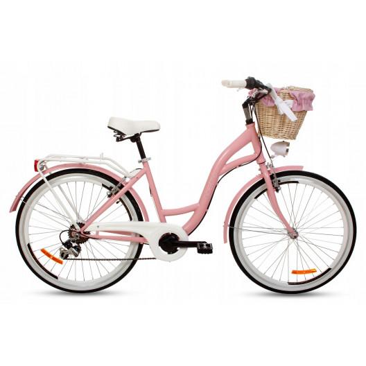 """Retro Bicykel Goetze MOOD 26"""" 7 Prevodový Ružový+košík 2020"""