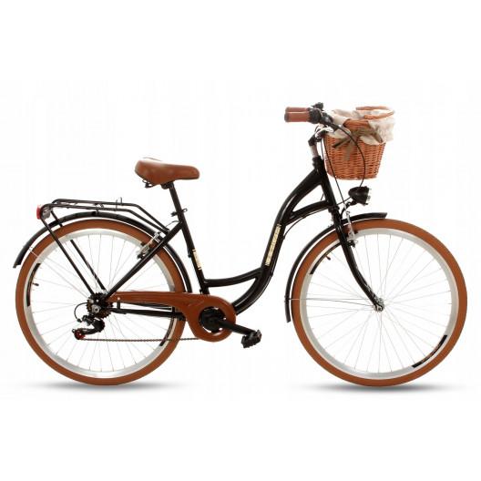 """Retro Mestský Bicykel Goetze MOOD 28"""" 7 Prevodový Čierny hnede kolesá+košík"""