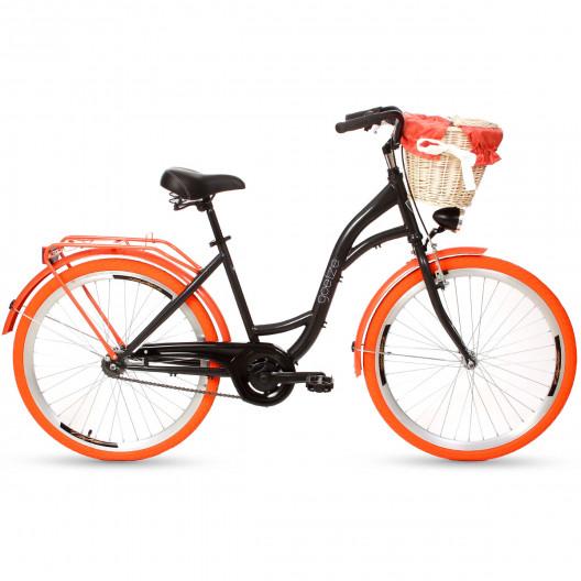 """Mestský Retro Bicykel Goetze 1 Prevodový 26"""" Čierny Oranžove kolesá+košík grátis"""