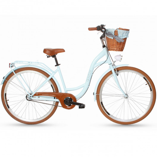 "Mestský Retro Bicykel Goetze COLOURS 3 Prevodový 28"" modrý hnede kolesá+košík"