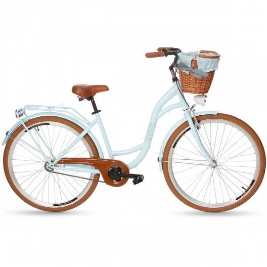 """Retro Bicykel GOETZE COLOURS 1 Prevodový 28"""" Modrý Hnede Kolesá+košík"""