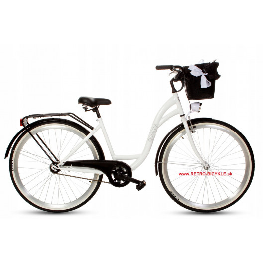 """Retro Bicykel GOETZE COLOURS 28"""" 1 prevodový Bielo-čierny+košík"""