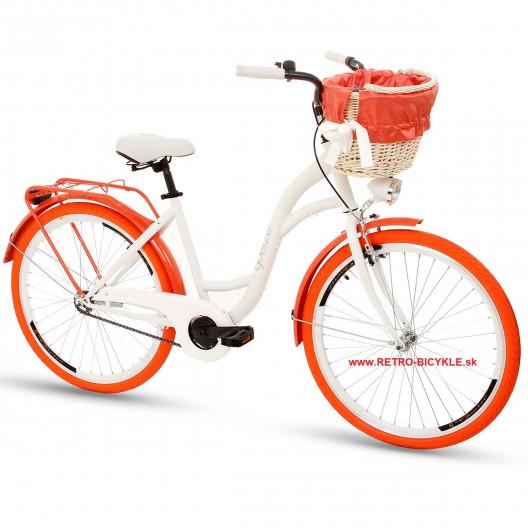 "Retro Mestský Bicykel GOETZE Colours 26"" 1 prevodový Orange+košík"