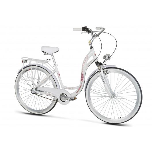 """Retro Bicykel Mexller Village 28"""" 3 prevodový HLINIKOVÝ Odpružený biely+košík"""