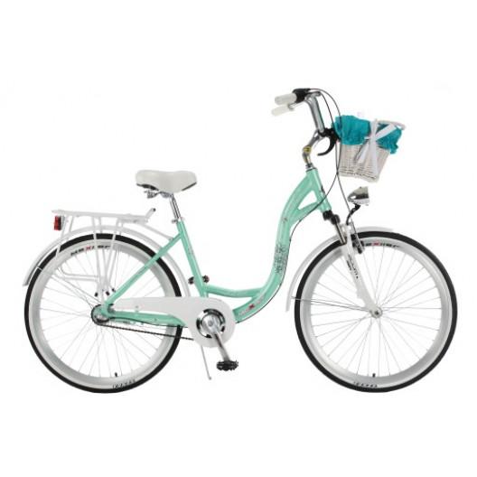 """Retro Bicykel Mexller Village 28"""" 3 Prevodový HLINIKOVÝ Odpružený Svetlomodrý+Košík"""