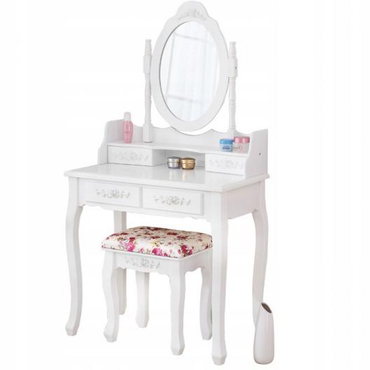 Toaletný Kozmetický stolík Monika biely + LED zrkadielko